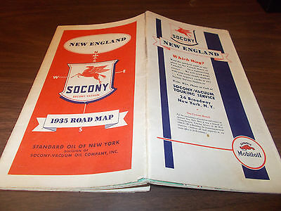 1935 Socony New England Vintage Road Map