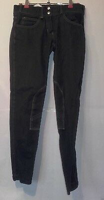 "Adult 28""w 27""l Unisex Navy Denim Horz Pony Horse Riding Breeches -  Uk 12"