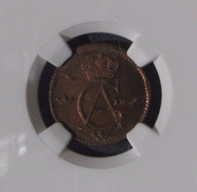 1802 Sweden 1/12 Skilling Uncirculated NGC MS64RB Copper