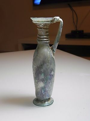 Zurqieh - Ancient Jordan. Roman Glass Oinochoe / Jar . 300 - 400 A.d