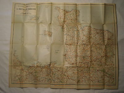 Antique 1918 North Le Bretagne & Normany France Automobiles & Cyclists Road Map