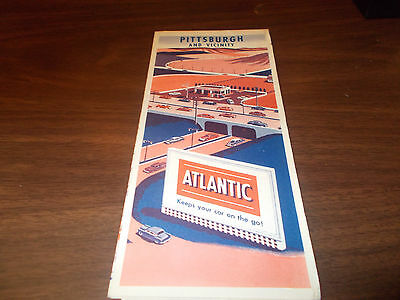 1955 Atlantic Pittsburgh and Vicinity Vintage Road Map