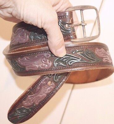 Genuine Leather Beth Frank Hand Tooled Painted Belt 34 Dusty Rose Flower Leaves