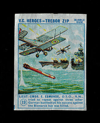 "Trebor 1964 Superb Scarcer ( Military ) Wax Wrapper "" # 19 -- V.c. Heroes """