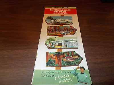 1954 Cities Service Minneapolis/St. Paul Vintage Road Map