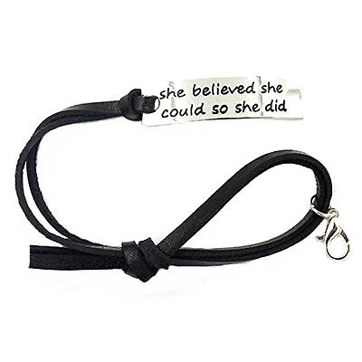 She Believed She Could So She Did Inspirational Black Leather Charm Bracelet