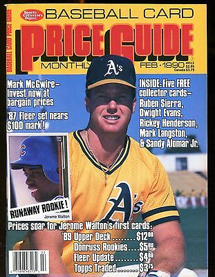SCD BASEBALL CARD Price Guide February 1990 Mark McGwire w/Mint Cards jhscd5