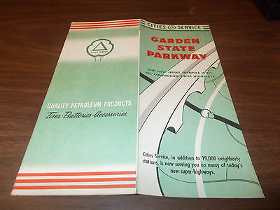1955 Cities Service Garden State Parkway/New Jersey Vintage Road Map