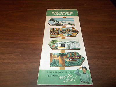 1955 Cities Service Baltimore Vintage Road Map