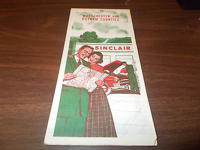 1953 Sinclair Westchester and Putnam Counties/New York Vintage Road Map/ 53A