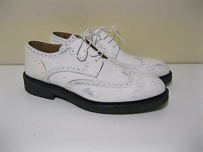 100% AUTHENTIC  LOUIS VUITTON Leather Wingtip Shoes Leather White  U.S. 7.5