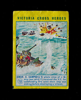 "TREBOR 1960s SCARCER ( MILITARY ) WAX WRAPPER "" # 18 -- VICTORIA CROSS HEROES """