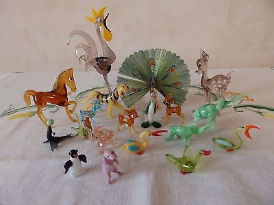 A collection of 18 vintage miniature Murano glass figures