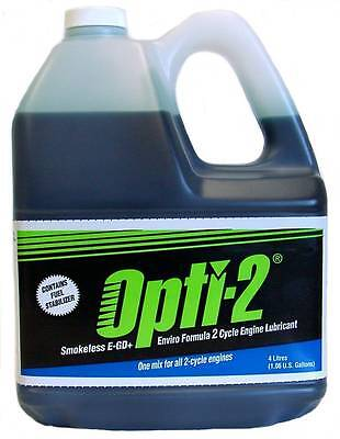Opti-2 Smokeless Two-Cycle 2-Stroke Oil 4 Litre Jug + Fuel Stabilizer Mix 400 L.
