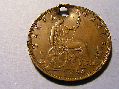 A 1884 Victoria Bun Head Half Penny Coin - Very Nice condition but Holed