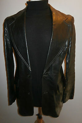 VINTAGE 1970s MENS 40 HEPWORTHS BLACK REAL GENUINE LEATHER BLAZER JACKET COAT