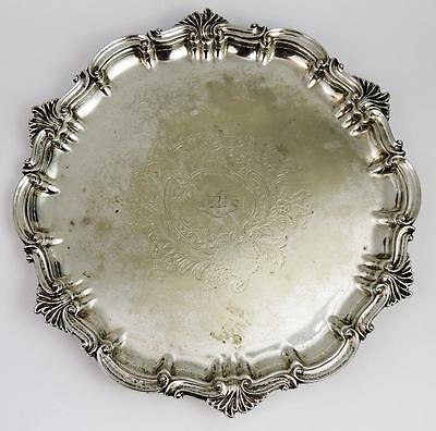 ANTIQUE CRESTED SALVER TRAY c1880 WELCHMAN FAMILY Silver Plated