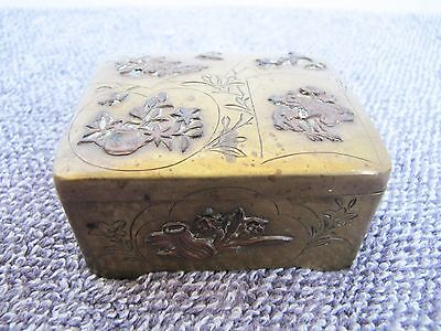 Antioue Chinese Engraved and  Decoration Brass Storage Box