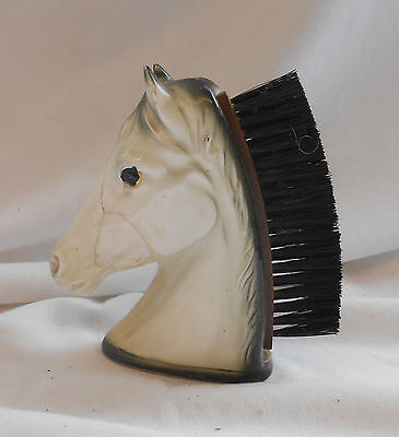 RARE Vintage ANTIQUE CERAMIC HORSE HEAD SHOE Polish BRUSH VANITY 12cm