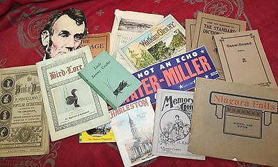 Large Lot of Antique Paper Ephemera Pamphlets Booklets Postcards Souvenirs
