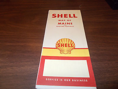 1956 Shell Maine Vintage Road Map