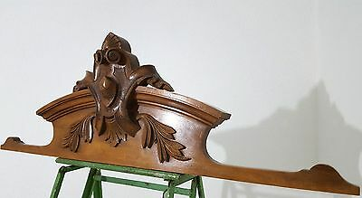 CARVED WOOD PEDIMENT ANTIQUE FRENCH COAT OF ARMS SALVAGED CARVING CREST 19 th b
