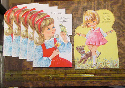6 Old Flocked Unused Rust Craft Easter Daughter Daddy Childs Greeting Cards  Lot