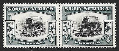 "South Africa 1944 5/- Black & Blue-Green with ""Broken Yoke Pin"" Variety (MNH)"