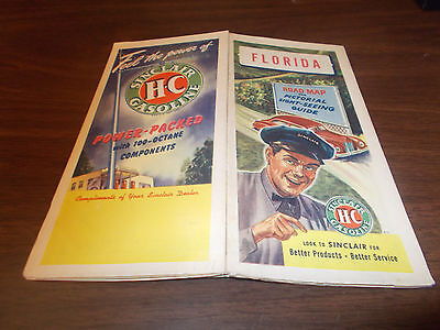 1947 Sinclair Florida Vintage Road Map