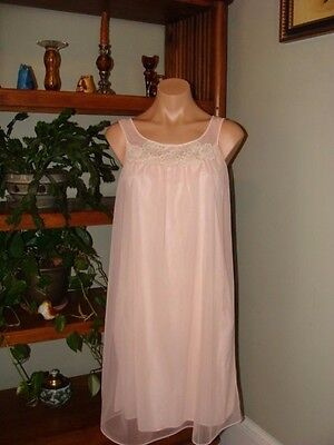 "Womens Vintage Sears Short Chiffon Nightgown & Peignoir Robe - Bust to 38"" Pink"