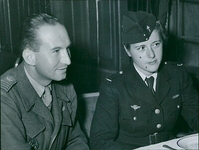 Vintage photo of Camp Chef Major R. Dugoujard and representative of the Red Cros