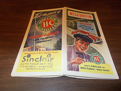 1947 Sinclair Wisconsin Vintage Road Map