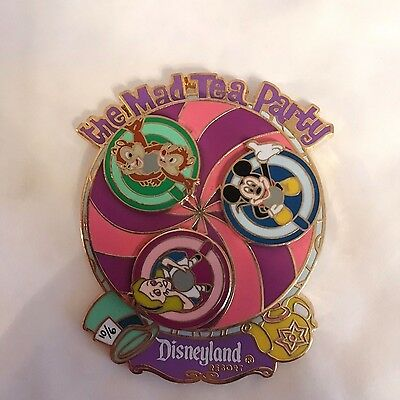 Disney Mad Tea Party Alice In Wonderland Chip 'n' Dale Mickey Mouse Spinner Pin