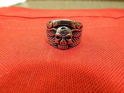 Harley Davidson Stainless Skull With Wings Ring Men's Size 13