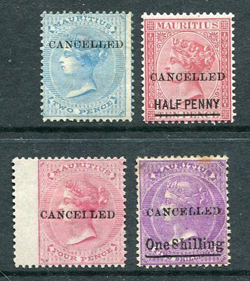 MAURITIUS 1877 QV Overprinted CANCE MH Unused Lot to 1s on 5s 4 Stamps