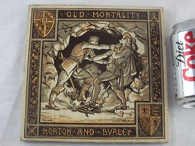 Large Victorian Moyr Smith Minton 'old Mortality Morton And Bvrley' Tile