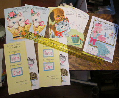 8 Old Unused Rust Craft Easter God Mother Father Child Cat Dog Greeting Card Lot