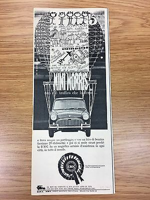 VERY RARE 1963 MINI Morris Vintage Italian 1/2 A4 B&W Car Advert L2