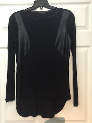 Zara Black Long Slevess Top With Frontcoating  Mix Detail  Size M