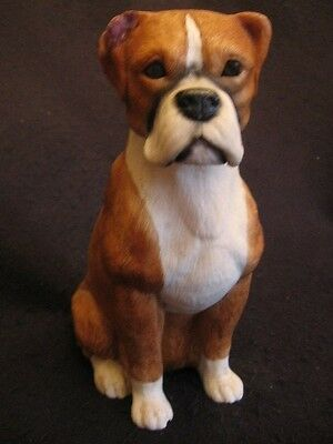 "LARGE 9"" H SEATED BOXER DOG FIGURINE Unmarked Ex condition"