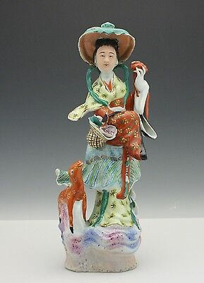 Chinese Porcelain Imperial Maiden Figure w/ Spotted Deer / Fawn Republic Period