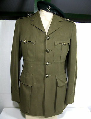 Ww2 Commando Attached Royal Signals Officers Service Dress Tunic &dk Green Beret