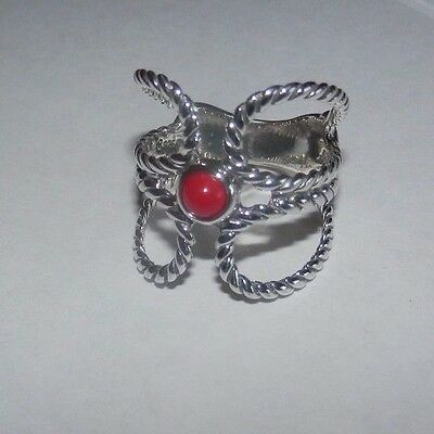 Carolyn Pollack American West Red Coral Sterling Silver Ring Size 7