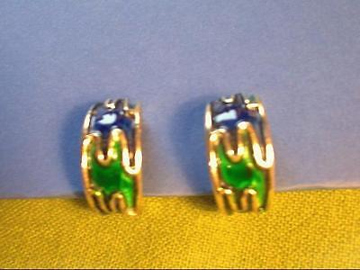 Original 1980s Vintage - Clip On Earrings - Gold Tone with Green & Blue Enamel