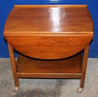 Antique ~Small ~Solid Oak ~Drop Leaf ~Side Table ~Coffee Table ~Trolley~ VGC