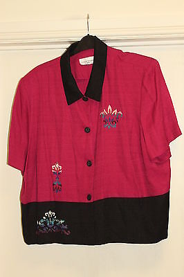 """Womens Clothes Plus Size 26/28 Lady Dorby Pinkblkshort Linen Jack 54""""bust54""""hips"""