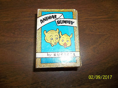 Vintage 1939 Animal Rummy Game Card Set by Russell Made in USA