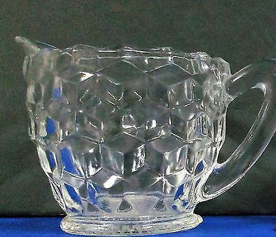 Vintage Indiana Glass Creamer & Sugar Bowl Set With Tray, (T199)