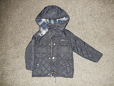 Baby boys navy blue quilt HOODED jacket age 9-12 months TU