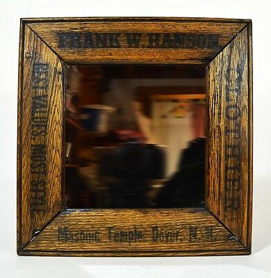 Masonic Freemasonry oak mirror mission style advertising  Dover NH original 1800